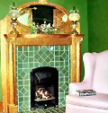 Beautifully tiled fireplace!
